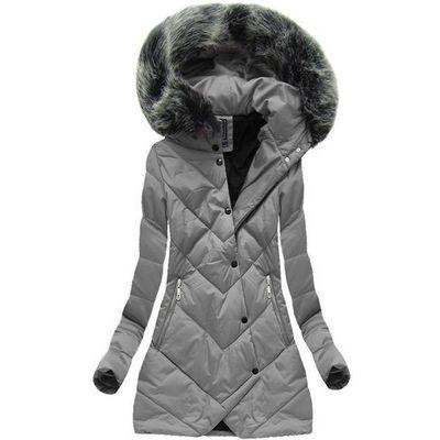 6676fc5093a7 Asymetryczna kurtka zimowa szara (1758) - szary marki G-stone goodlookin.pl