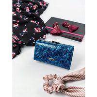 Skórzany portfel damski lorenti 55020 niebieski