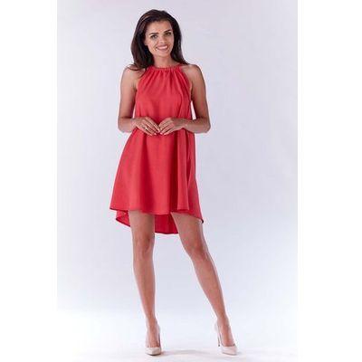 73e6bf8e2f Różowa Trapezowa Sukienka Koktajlowa z Dekoltem Halter-neck MOLLY