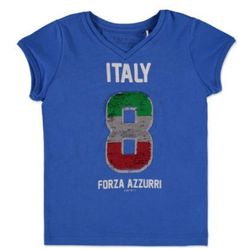 girls soccer bluzka z krótkim rękawkiem italy blue marki Esprit