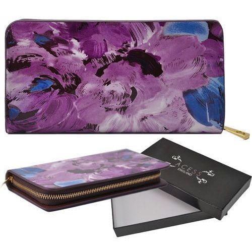 Wielka brytania Lakierowany fioletowy portfel damski w kwiatowy wzór purple - fioletowy   niebieski   czarny