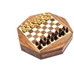Szachy magnetyczne w ośmiokątnym pudełku drewnianym G236