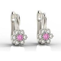 Węc - twój jubiler Kolczyki z białego złota z cyrkoniami różowymi i białymi apk-68b-c - cyrkonia ||cyrkonia swarovski pink