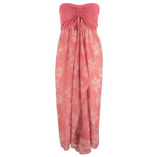 Długa sukienka bonprix niebiesko-kolorowy, kolor różowy