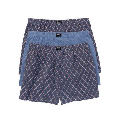 Luźniejsze bokserki (3 pary) bonprix niebieski dżins melanż z nadrukiem, 1 rozmiar
