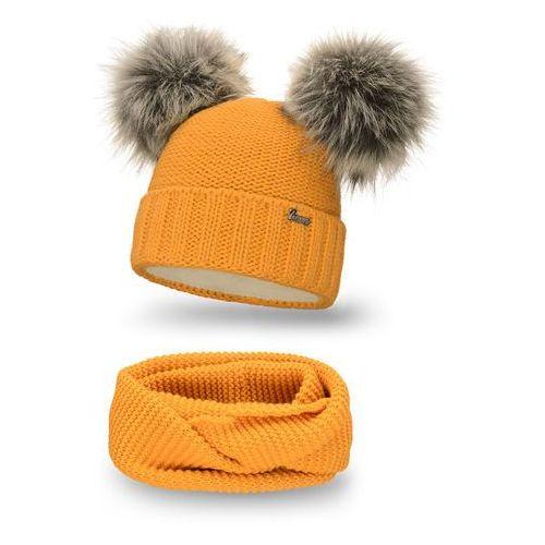 Komplet PaMaMi, czapka i komin - Miodowy - Miodowy (5902934062220)