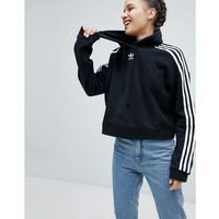 adidas Originals adicolor Three Stripe Cropped Hoodie In Black - Black