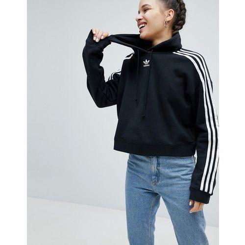 adicolor three stripe cropped hoodie in black - black, Adidas originals
