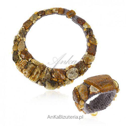 62399dc5ca4177 Ankabizuteria.pl Niezwykła biżuteria artystyczna z naturalnym bursztynem -  komplet, kolor pomarańczowy