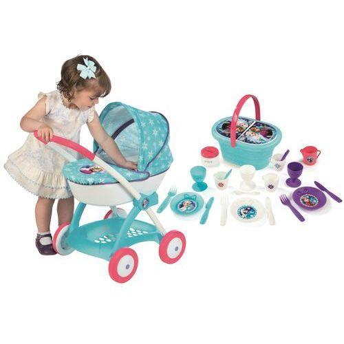 Smoby Frozen Gondola Wózek dla lalek i Koszyk piknikowy 20 akcesoriów