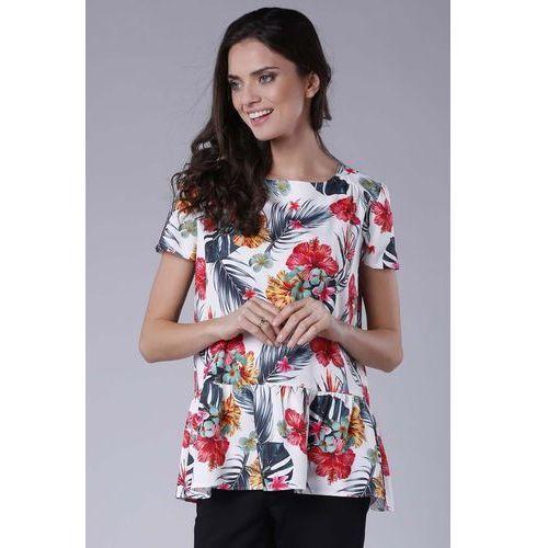 Kobieca oversizowa bluzka wykończona falbanką marki Nommo