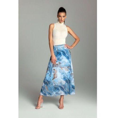 Długa spódnica trapezowa z szyfonu w kolorze niebieskim - KOLEKCJA NIEBIESKIE MORZE