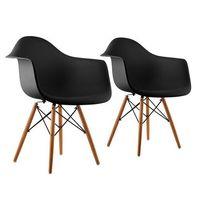 oneConcept Bellagio Fotel w stylu retro siedzisko z polipropylenu drewno brzozowe czarny, 2 sztuki