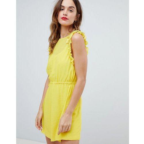 Frill sleeve mini dress - yellow, Sisley