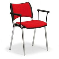 Krzesła konferencyjne smart - chromowane nogi, z podłokietnikami, czerwony marki B2b partner