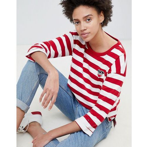 Tommy Hilfiger Denim Heart Embroidered Stripe 3/4 Sleeve T-Shirt - Red, w 4 rozmiarach
