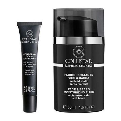 Uomo face & beard moisturizing fluid krem nawilżający do twarzy z zarostem 50ml + mini anti-wrinkle eye contour creme 15ml marki Collistar