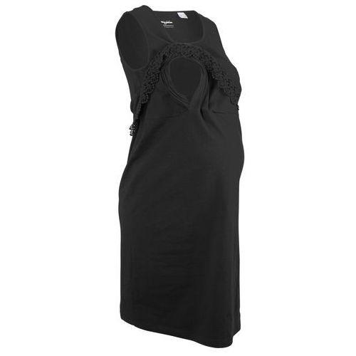 Sukienka shirtowa ciążowa i do karmienia bonprix czarny, w 2 rozmiarach