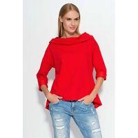 Czerwona bluza z szerokim kapturem