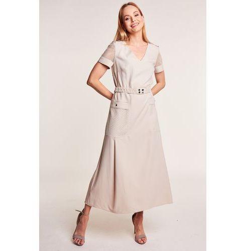 82db219418 Zobacz ofertę Paola collection Beżowa sukienka z elegancką siatką