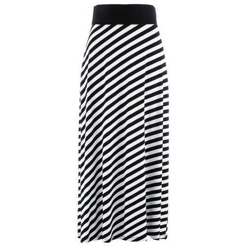 Bonprix Spódnica shirtowa czarno-biały w paski