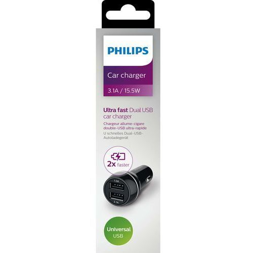 Philips Ładowarka ładowarka samochodowa 2xusb 5v, 3.1a, 15.5w, czarna / philips - dlp2357/10 darmowy odbiór w 21 miastach! (4895185614489)