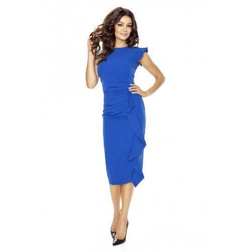 Stylowa niebieska sukienka z falbanką, Kartes moda, 34-44