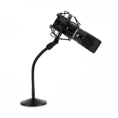 Zestaw mikrofonowy z mikrfonem USB w kolorze czarnym i statyw do mikrofonu