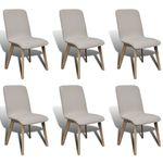 Vidaxl zestaw 6 krzeseł jadalnianych małe w kolorze beżowym