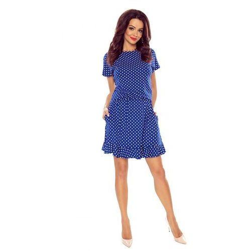 Luźna sukienka w grochy z krótkim rękawem (5903093597134)