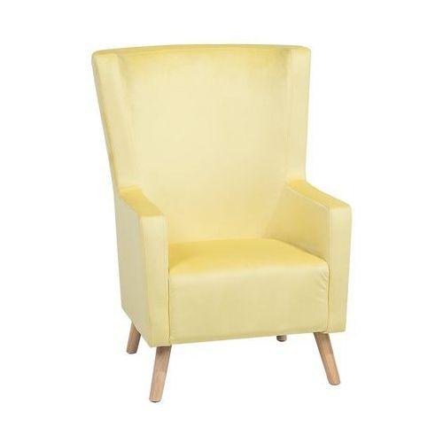 Fotel Welur żółty Oneida Beliani
