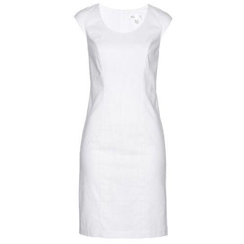 Bonprix Lniana sukienka ołówkowa biały