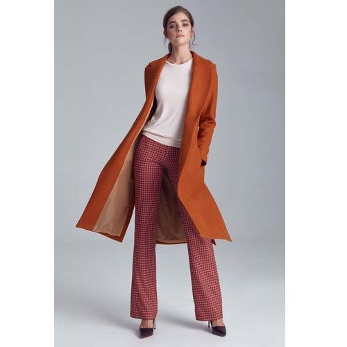 Miodowy długi klasyczny płaszcz z rozcięciami po bokach, 1 rozmiar