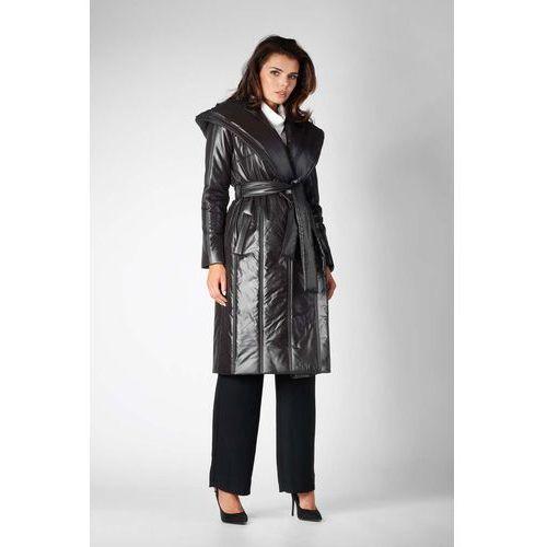 Czarny Długi Pikowany Płaszcz z Kapturem