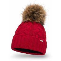 Ciepła czapka damska z pomponem PaMaMi- Czerwony