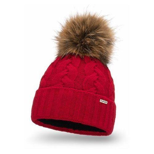 Ciepła czapka damska z pomponem PaMaMi- Czerwony (5902934089234)