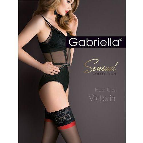 Pończochy victoria hold ups 474 rozmiar: 3/4-m/l, kolor: czarno-czarno-czerwony/nero-nero-red, gabriella marki Gabriella