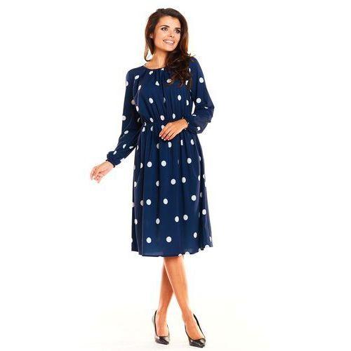 6cd3c8f563 Zobacz ofertę Granatowa Wzorzysta Kobieca Sukienka Midi z Długim Rękawem.  Awama
