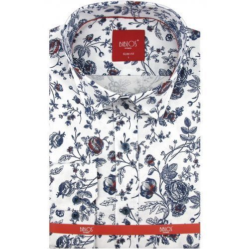 Koszula męska biała w kwiatki slim fit na długi rękaw a078 marki Biblos