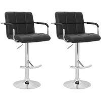krzesła barowe czarne, eleganckie z oparciem i podłokietnikami marki Vidaxl