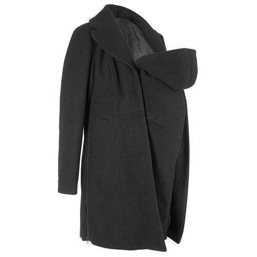 Płaszcz ciążowy z wstawką niemowlęcą na nosidełko bonprix czarny, płaszcz