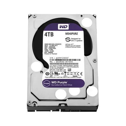 WD Purple, dysk twardy do monitorowania niemowląt, czarny/srebrny 4 TB (0718037856773)