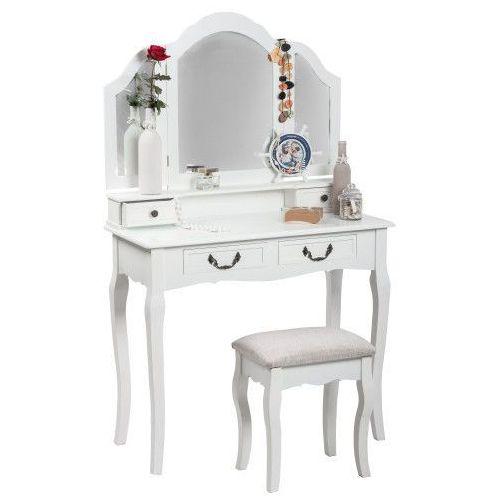 Meblemwm Toaletka kosmetyczna 135 z lustrem biała + taboret (9999001205914)