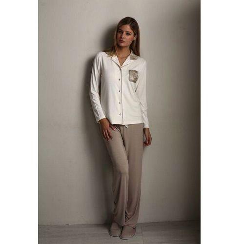 df13bdfb18eb49 ... Damska bambusowa piżama claudia s kremowy / srebrny marki Luisa moretti  - Galeria ...