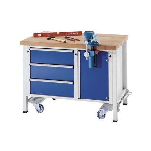 Stół warsztatowy do montażu,ruchomy, z 3 szufladami i imadłem marki Anke werkbänke - anton kessel