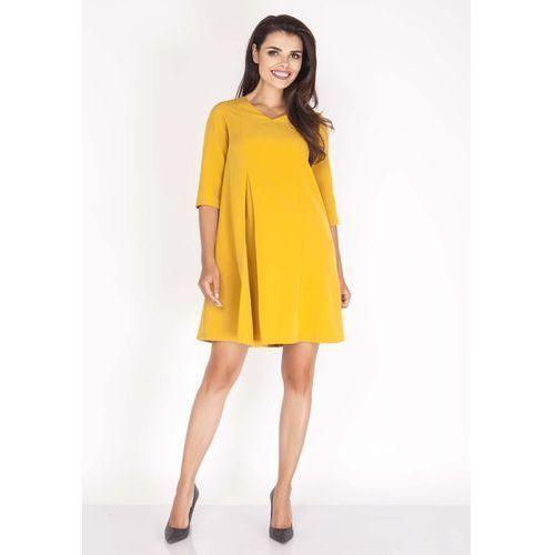 Żółta Sukienka w Serek z Kontrafałdą, rozkloszowana