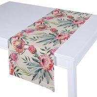 Dekoria Bieżnik prostokątny, różowe kwiaty na kremowym tle, 40x130 cm, New Art
