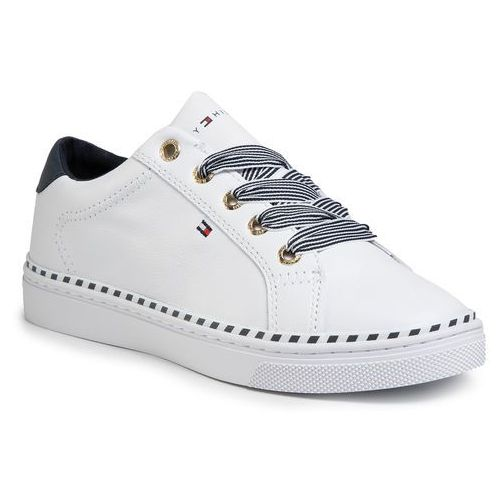 Sneakersy TOMMY HILFIGER - Nautical Lace Up Sneaker FW0FW04689 White YBS, kolor biały