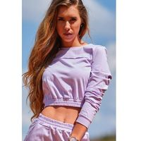 bluza typu crop ze ściągaczem - purpurowa