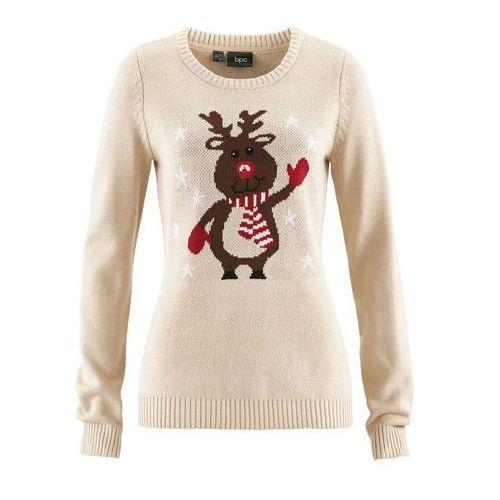 Sweter z okrągłym dekoltem bonprix beżowo-szary, bawełna